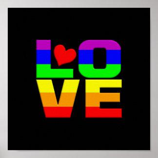 Cartera del amor del arco iris póster