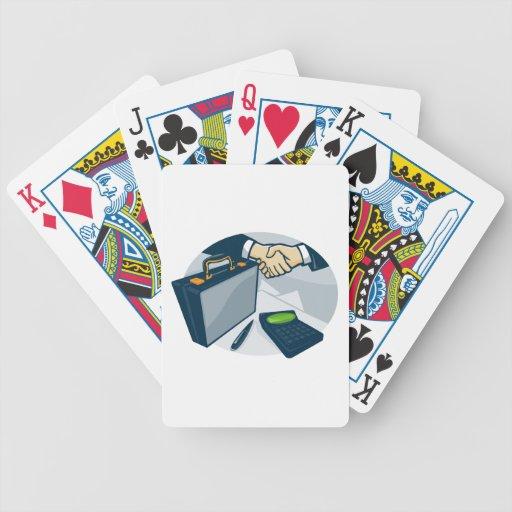Cartera del trato del apretón de manos del negocio baraja cartas de poker