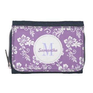 Cartera personalizada monograma hawaiano púrpura d
