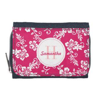 Cartera personalizada monograma hawaiano rosado de