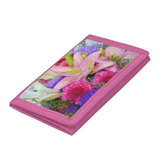 Cartera rosada del estampado de flores del lirio y