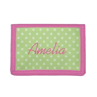 Cartera rosada y verde personalizada de los chicas