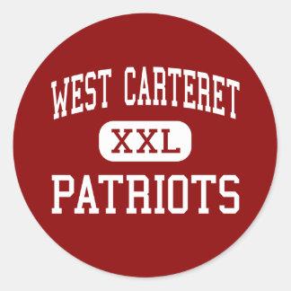 Carteret del oeste - patriotas - alto - ciudad de etiqueta redonda