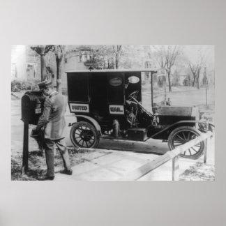 """Cartero con el automóvil del """"correo unido"""" poster"""