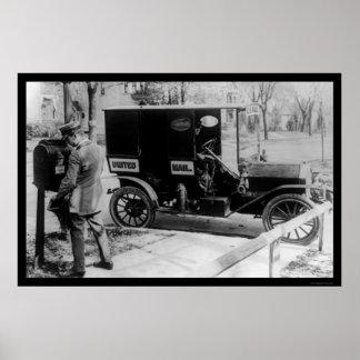 Cartero y camión 1919 de USPS Poster
