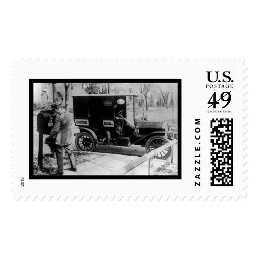 Cartero y camión 1919 de USPS Sello Postal
