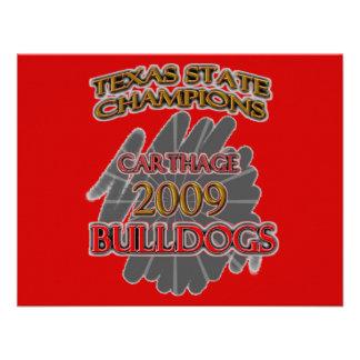 Carthage Bulldogs 2009 Texas Football Champions Custom Invites