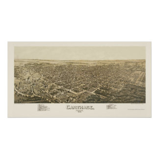 Carthage, MO Panoramic Map - 1891 Print