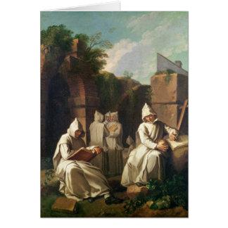 Carthusian Monks in Meditation Greeting Card