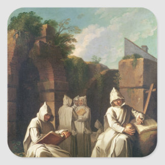 Carthusian Monks in Meditation Square Sticker
