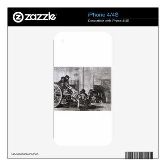 Cartloads to the cemetery by Francisco Goya iPhone 4 Decals