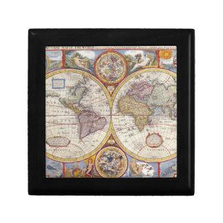 Cartografía antigua del mapa de Viejo Mundo del Caja De Regalo Cuadrada Pequeña