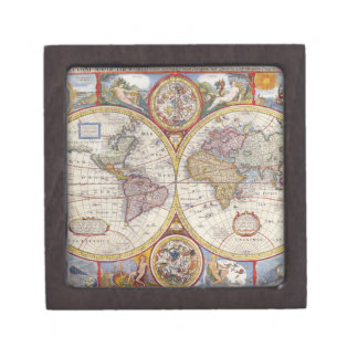 Cartografía antigua del mapa de Viejo Mundo del Caja De Joyas De Calidad