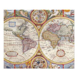 Cartografía antigua del mapa de Viejo Mundo del Arte Fotografico