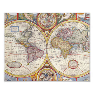 Cartografía antigua del mapa de Viejo Mundo del Foto