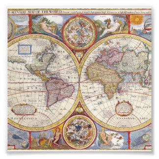 Cartografía antigua del mapa de Viejo Mundo del Impresión Fotográfica