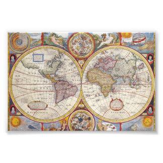 Cartografía antigua del mapa de Viejo Mundo del Fotografías
