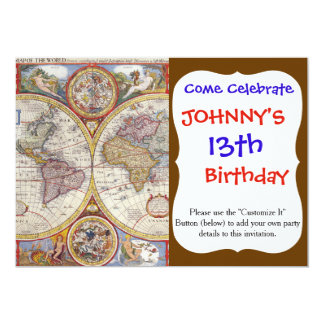 """Cartografía antigua del mapa de Viejo Mundo del Invitación 5"""" X 7"""""""