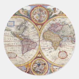 Cartografía antigua del mapa de Viejo Mundo del Pegatina Redonda