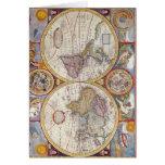 Cartografía antigua del mapa de Viejo Mundo del Tarjeta De Felicitación