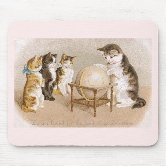 Cartographer Cat and Three Kittens Mouse Pad
