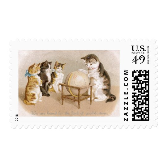 Cartographer Cat and Three Kittens Postage