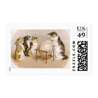 Cartographer Cat and Three Kittens Postage Stamp
