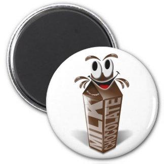 Carton and cartoon chocolate milk 2 inch round magnet