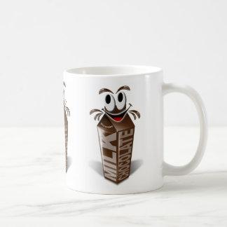 Carton and cartoon chocolate milk coffee mugs
