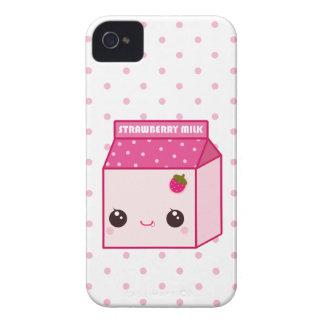 Cartón de la leche de la fresa de Kawaii Case-Mate iPhone 4 Protectores