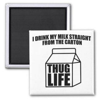 Cartón de la leche de la vida del gamberro imán cuadrado