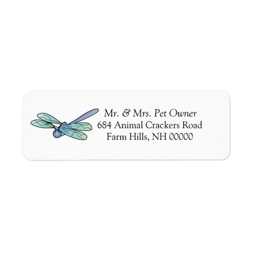 Carton Dragonfly Return Address Labels Stickers
