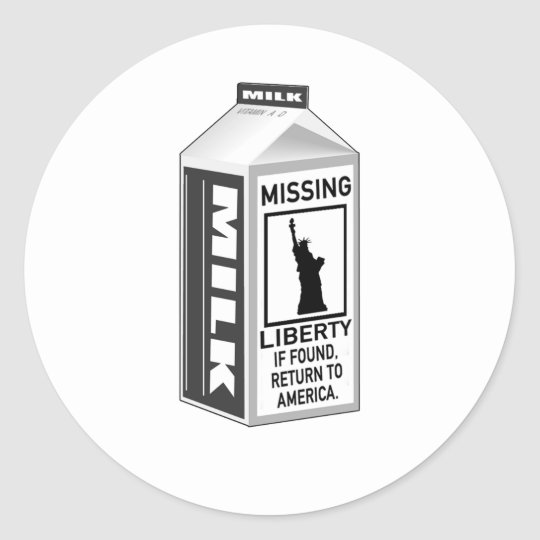 Cartón que falta de la leche de la libertad pegatina redonda