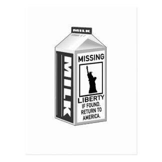 Cartón que falta de la leche de la libertad tarjeta postal