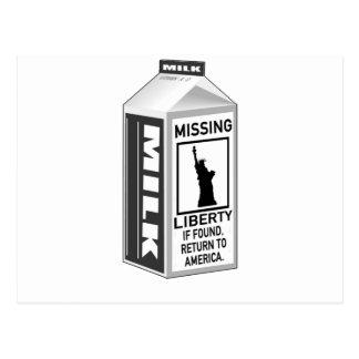 Cartón que falta de la leche de la libertad postal