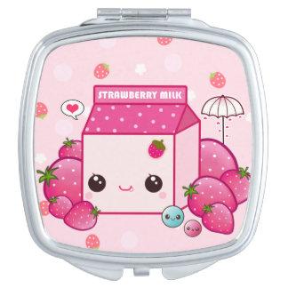 Cartón rosado de la leche de Kawaii con las fresas Espejos De Maquillaje
