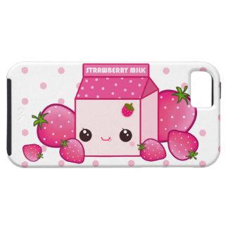 Cartón rosado de la leche de Kawaii con las fresas Funda Para iPhone SE/5/5s