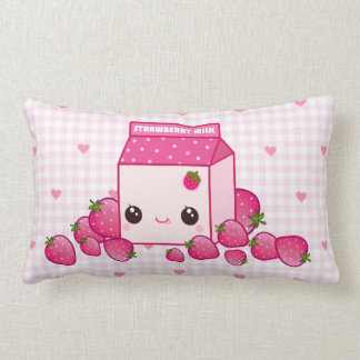 Cartón rosado lindo de la leche con las fresas del cojin