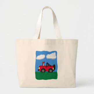 Cartoon 4 Wheel Drive Sport Utility Vehicle Large Tote Bag