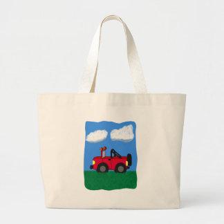 Cartoon 4 Wheel Drive Sport Utility Vehicle Large Tote Bag