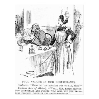 Cartoon about an educated waitress post card