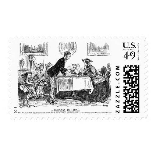 Cartoon about Elizabeth Garrett Anderson, first Postage