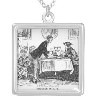 Cartoon about Elizabeth Garrett Anderson, first Square Pendant Necklace