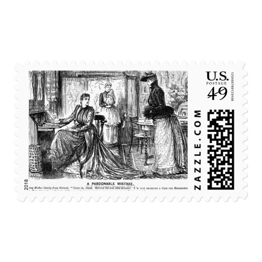 Cartoon about university education for women postage