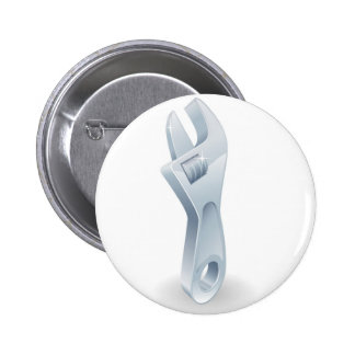 Cartoon adjustable wrench or spanner button