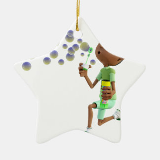 Cartoon African American Boy Blowing Bubbles Ceramic Ornament