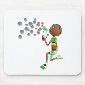 Cartoon African American Boy Blowing Bubbles Mouse Pad