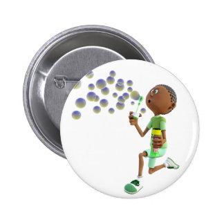 Cartoon African American Boy Blowing Bubbles Pinback Button