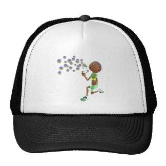 Cartoon African American Boy Blowing Bubbles Trucker Hat