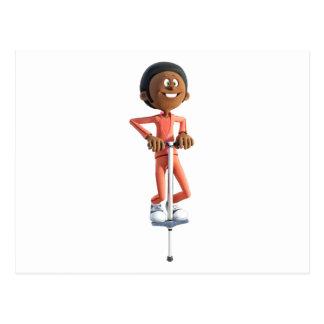 Cartoon African American Boy on a Pogo Stick Postcard